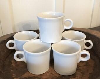 Vintage Fiestaware White Tom & Jerry Coffee Mugs Set of 6