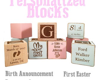 Unique Baptism Gift-Christening Ideas-Catholic gifts-Keepsake Custom Engraved wooden baby blocks for newborn girl newborn boy