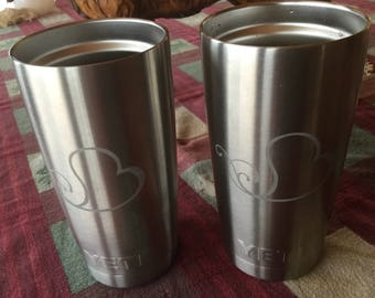 Stainless etched travel mug