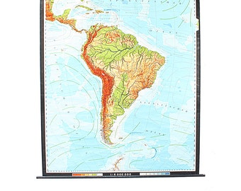 Vintage Giant Wall Map of South America