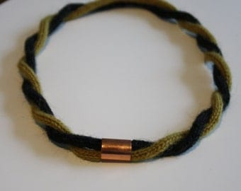 Knitted necklace copper tube