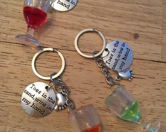 Toes in the Sand,Wine in my hand Keychain,Keyring,Jewlery