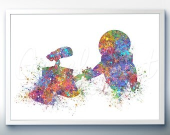 Disney Pixar WALL-E and Eve Watercolor Poster Print - Watercolor Painting - Watercolor Art - Kids Decor- Nursery Decor