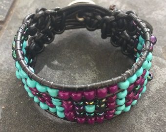 Leather beaded cuff bracelet turquoise, black, and purple