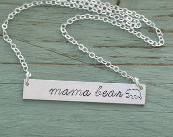 FREE SHIP • Mama Bear Necklace • Sterling Silver Mama Bear Bar Necklace Mom Necklace Grandma Gift •Mom Birthday Gift Mommy Necklace Stamped