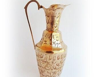 Vintage Brass Vase, Brass pitcher, Indian Brass , Brass Carafe, Indian pitcher, small vase pitcher, gold brass, engraved vase