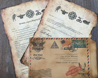 Personalized Wizard Acceptance letter and what to bring letter with wax seal