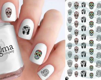 Day of the Dead Sugar Skull Nail Decals (Set of 63)