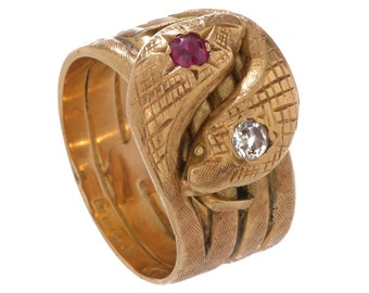 Antique Engraved Double Serpent Ring