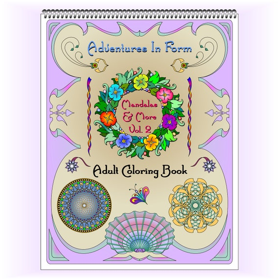 Mandala coloring book, Volume 2 / 20 pages, spiral bound at the top, top quality images / BONUS Book Marks / Great for Left or Right handed