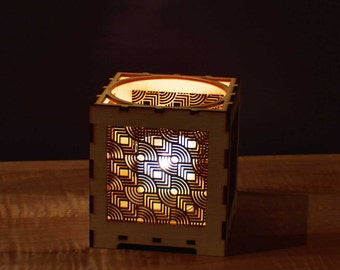 Laser Cut Wood Votive Candle Holder - Geometric Circles and Squares
