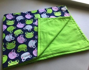 Pink and Green Froggies Flannel Baby Blanket