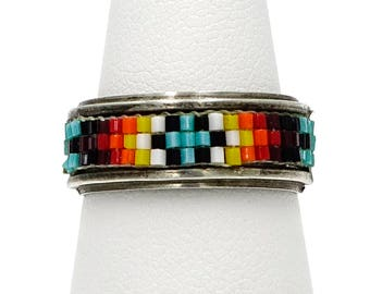 American Indian Loomed Seed Bead Sterling Silver Ring