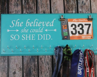 Medal Holder, Medal Display, Gift For Runners, She Believed She Could So She Did, Bib Holder, Race Bib Display, Medal Rack