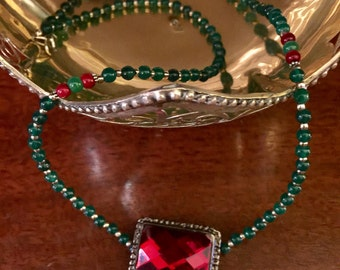 Free Shipping- Red and Green Buckle Necklace-Turkish Jewelry