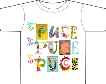 Girly kids' tee-shirt, enfant, French MA PUCE,my sweetheart,my pet,3-4 5-6 years,bright colours on white, designed and printed by us
