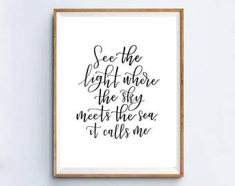 Moana Song Lyrics | See the light where the sky meets the sea, it calls me | How Far I'll Go | Calligraphy printable 8x10 Print