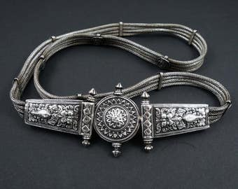 Old High Grade Silver Indian Belt.  Repousse silver and silver mesh/woven belt.  Maharashtra India.