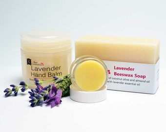 Lavender Gift. Lavender beeswax hand balm, soap and lip balm. Skincare gift for Lavender lovers