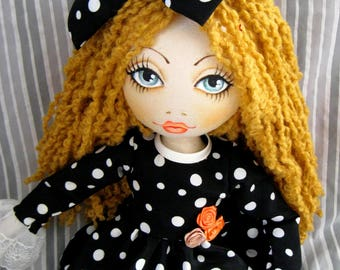 Curly-haired Doll, Green eyes Doll, Handmade Doll