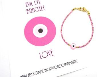 Evil eye adjustable bracelet - friendship bracelet - minimalist bracelet - protection bracelet - wish bracelet - birthday gift card