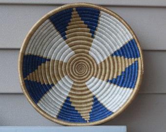 White Blue & Gold Rwandese Peace Basket