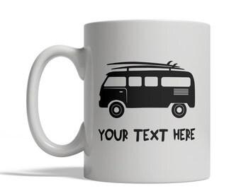 Surfing Van Mug - Personalized Custom Text Ceramic Coffee Cup Tea, 11 oz - surfer surf