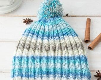 Knit toddler hat / Knit baby boy hat / Wool hand knit baby hat / Baby shower gift / Pom pom hat / Wool pom pom beanie / Warm winter hat
