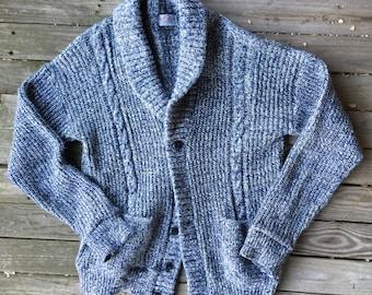 Large 42/44 acrylic shawl collar Dad sweater