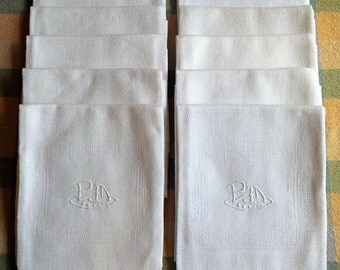White French Linen Table Napkins - PM Hand Embroidered Monogram - Set of 10 - Serviettes de Table