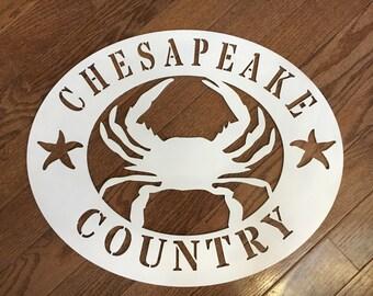 Coastal chesapeake wood hand painted door or wall sign