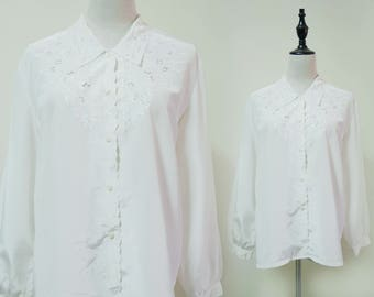 Women White Vintage Shirt Long Sleeve Carved Blouse 1980s Fashion
