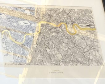 London Metallic Thames Map