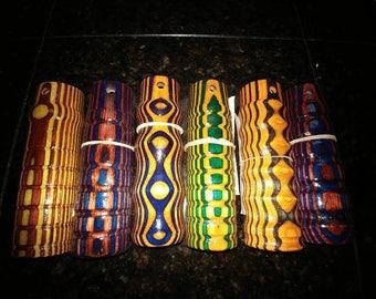 Multi-colored stick stinger handles.