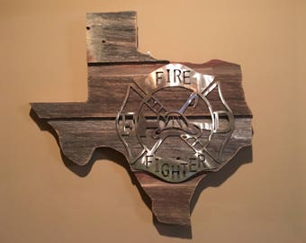 Texas Barnwood Firefitgher Sign