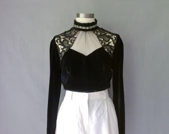 vintage black velvet lace blouse/shirt/top size S/M
