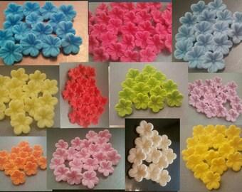 30 Edible Sugar Paste Fondant Petunia Flowers Birthday Wedding Anniversary Party Cake Cupcake Toppers