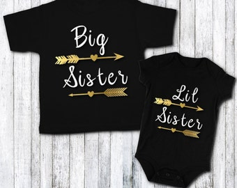 Personalized gifts by jenuinegraphics on etsy sisters shirt set big sister little sister gold vinyl sibling shirts negle