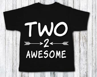 Second birthday shirt - two awesome - second birthday outfit - second birthday party - second birthday gift idea - 2nd birthday top