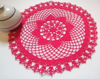 "Crochet Doily Fuchsia Crochet table doily Crochet lace Doilies Crochet home decor, 12,50"" inch Crochet Handmade Doilies Adornment Decor Home"