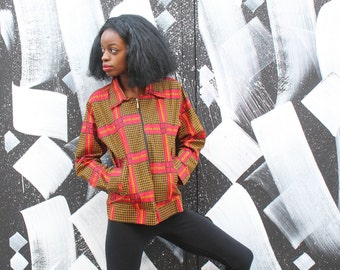 African workwear Jacket - Hamed Jacket - Wax Print Jacket - Festival Clothing Festival Jacket