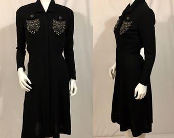 Vintage 1930s Black Dress, Black Wool Dress, Beaded,