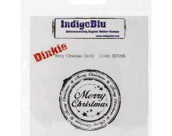 "IndigoBlu Cling Mounted Stamp 4""X3"" Merry Christmas Circle-Dinkie"