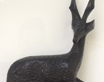 Vintage Dark Wood Gazelle Antelope - Mid-Century Modern Decor