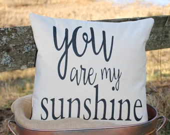 17x17//You Are My Sunshine Pillow Cover//Free Shipping