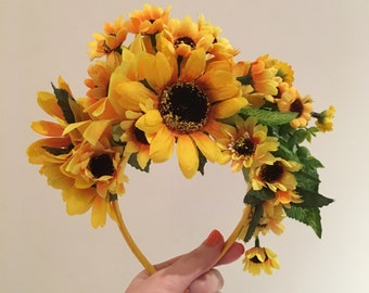 Sunny Sunflower Flower Crown/ Headband