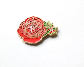Ranunculus Flower Enamel Pin // Accessories // Flair // Flower Pin