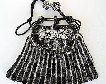 Victorian Black & White Beaded Draw String Reticule Purse