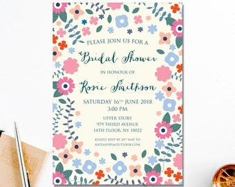 Printable Shower Invitations | Boho Shower Invite | Floral Bridal Shower Invitation | DIY Invitation | Printable PDF Party Invite | Bride