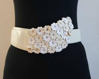 Vintage Women's White Romantic Belt, Waist Belt, Boho Belt, Decorative Faux Leather Belt, 1990s